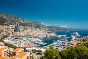 Monaco, Monte Carlo cityscape. Real estate architecture on mount